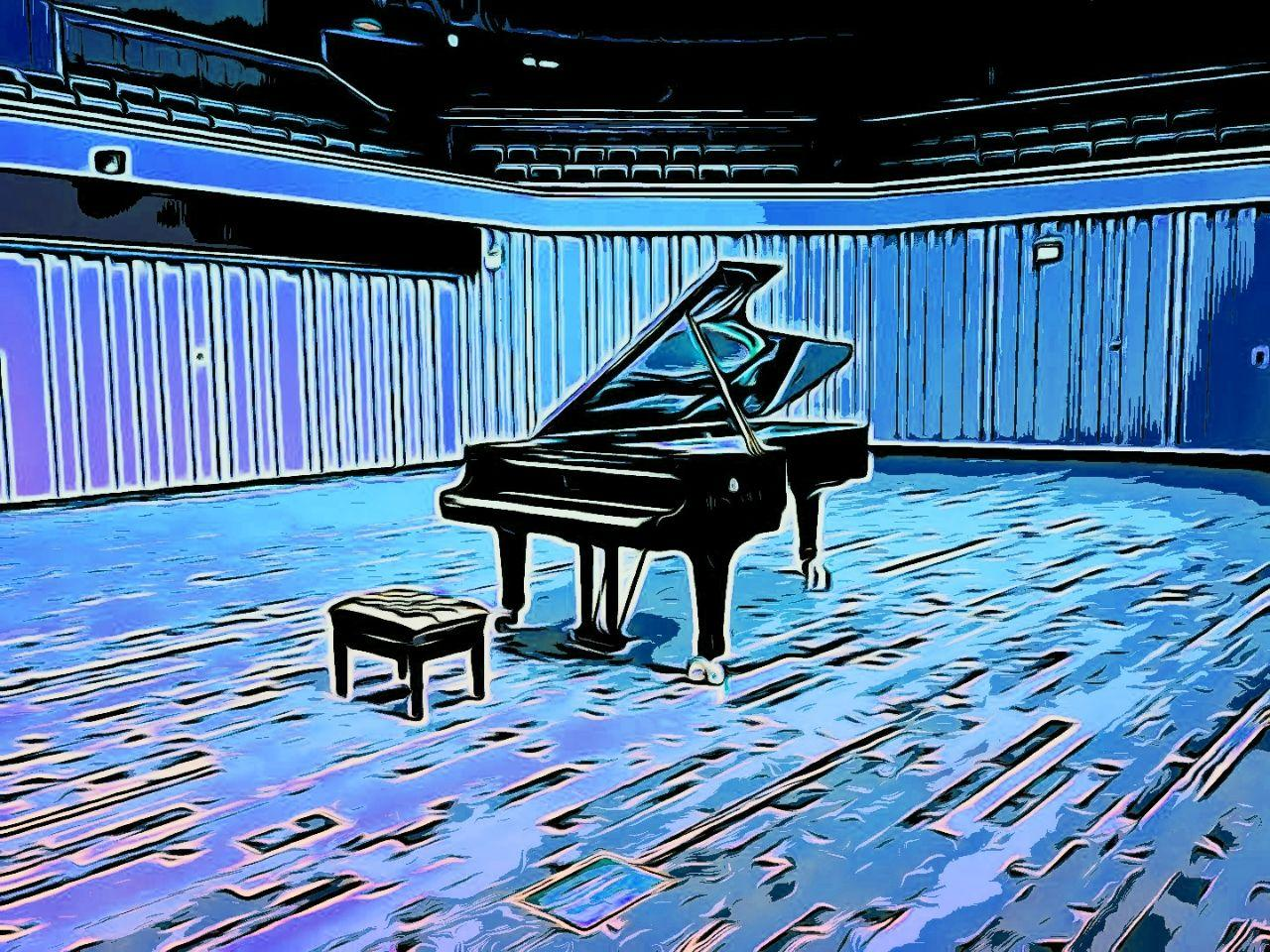 Piano in a room