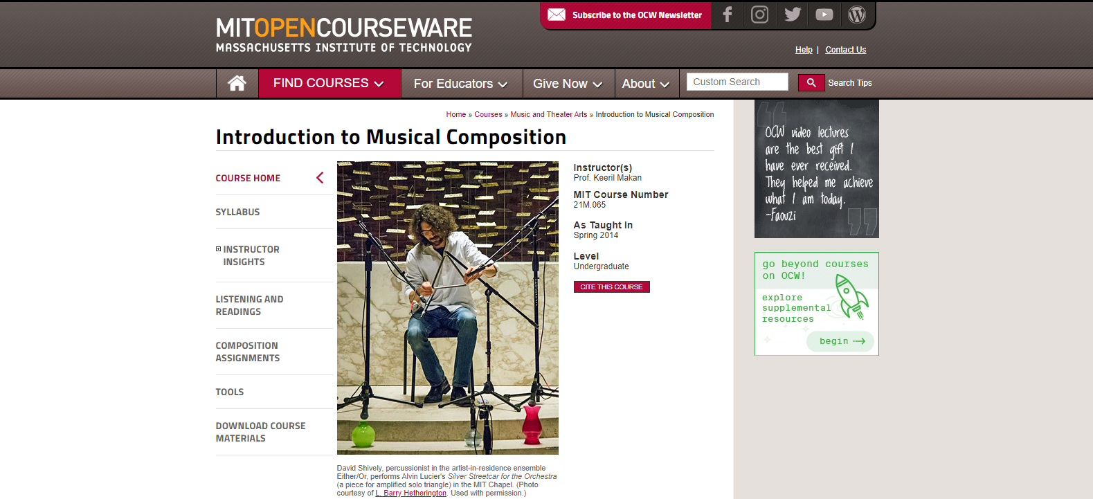 MIT Music Courses